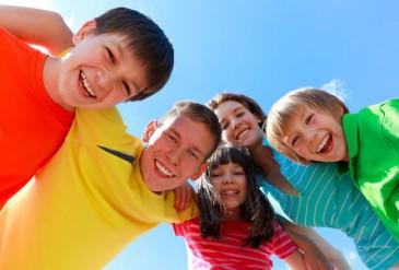 Happy enthusiastic children